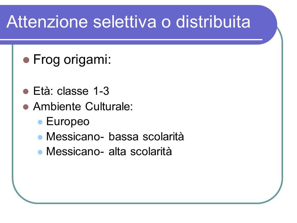 Attenzione selettiva o distribuita Frog origami: Età: classe 1-3 Ambiente Culturale: Europeo Messicano- bassa scolarità Messicano- alta scolarità