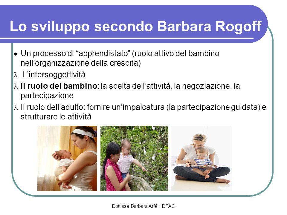 Lo sviluppo secondo Barbara Rogoff Un processo di apprendistato (ruolo attivo del bambino nellorganizzazione della crescita) Lintersoggettività Il ruo