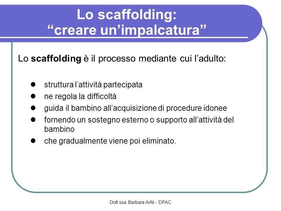 Lo scaffolding è il processo mediante cui ladulto: struttura lattività partecipata ne regola la difficoltà guida il bambino allacquisizione di procedu