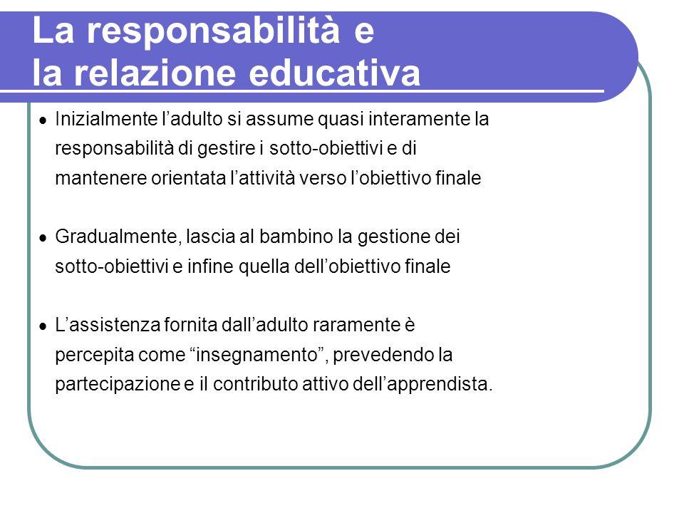 La responsabilità e la relazione educativa Inizialmente ladulto si assume quasi interamente la responsabilità di gestire i sotto-obiettivi e di manten