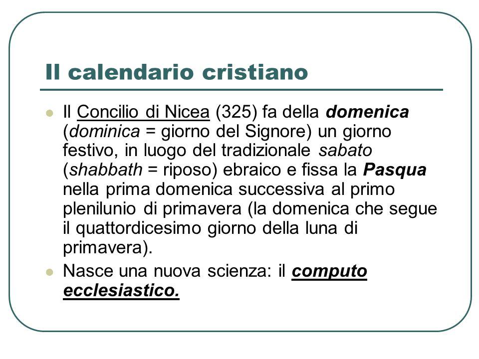 Il calendario cristiano Il Concilio di Nicea (325) fa della domenica (dominica = giorno del Signore) un giorno festivo, in luogo del tradizionale saba