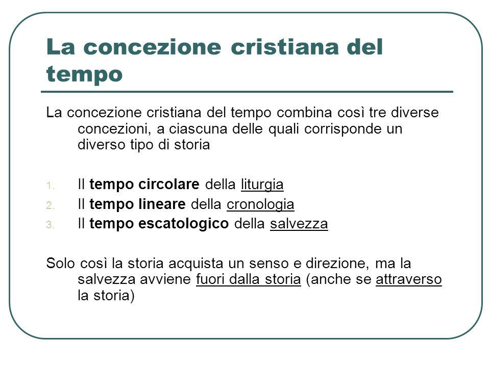 La concezione cristiana del tempo La concezione cristiana del tempo combina così tre diverse concezioni, a ciascuna delle quali corrisponde un diverso