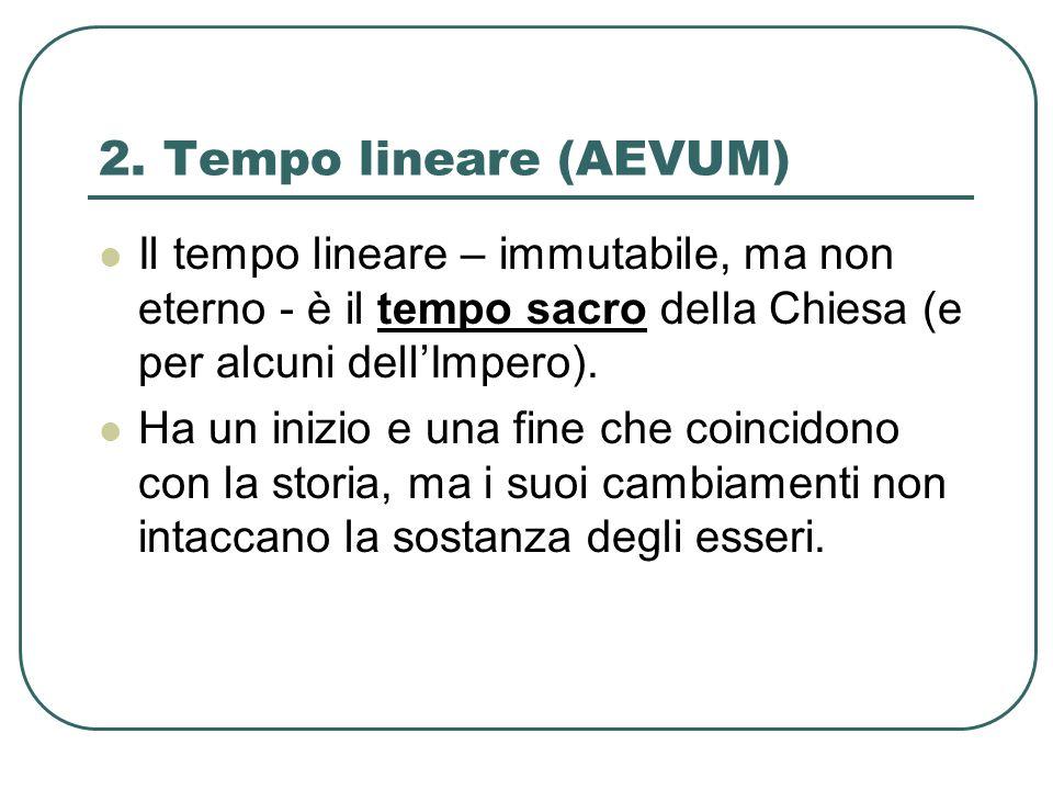 2. Tempo lineare (AEVUM) Il tempo lineare – immutabile, ma non eterno - è il tempo sacro della Chiesa (e per alcuni dellImpero). Ha un inizio e una fi