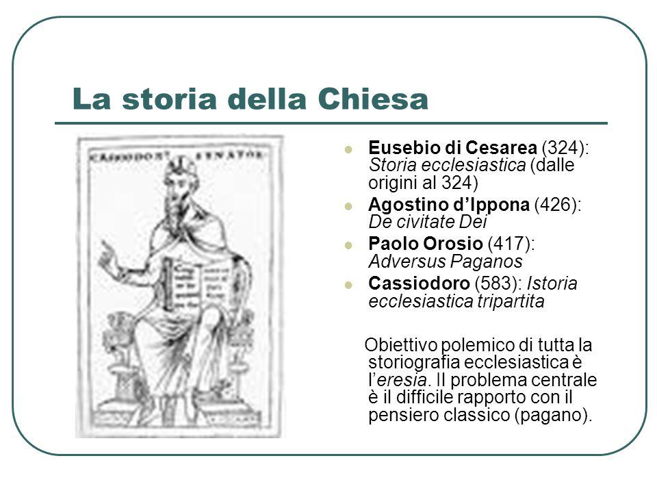 La storia della Chiesa Eusebio di Cesarea (324): Storia ecclesiastica (dalle origini al 324) Agostino dIppona (426): De civitate Dei Paolo Orosio (417
