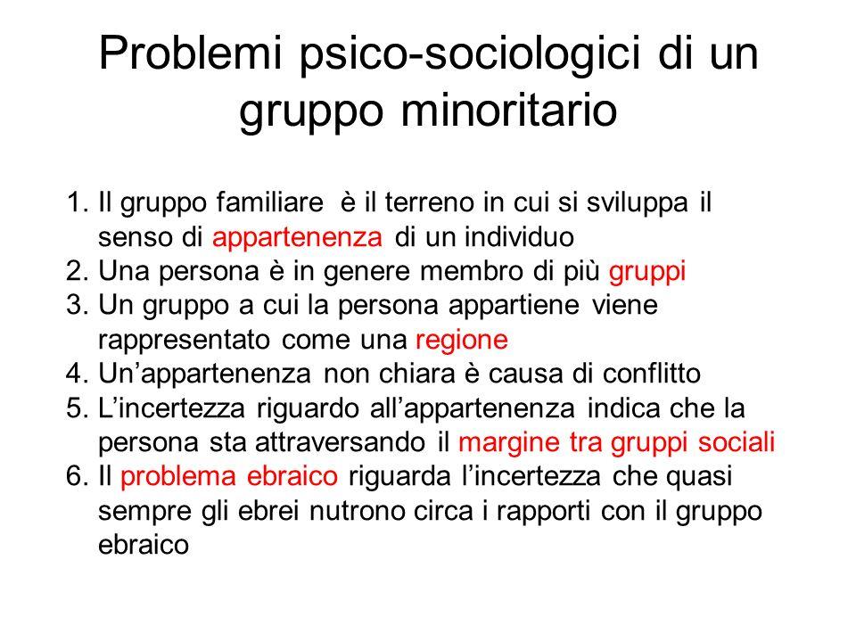 Problemi psico-sociologici di un gruppo minoritario 1.Il gruppo familiare è il terreno in cui si sviluppa il senso di appartenenza di un individuo 2.U