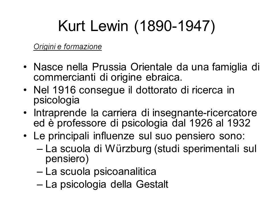 Kurt Lewin (1890-1947) Origini e formazione Nasce nella Prussia Orientale da una famiglia di commercianti di origine ebraica. Nel 1916 consegue il dot
