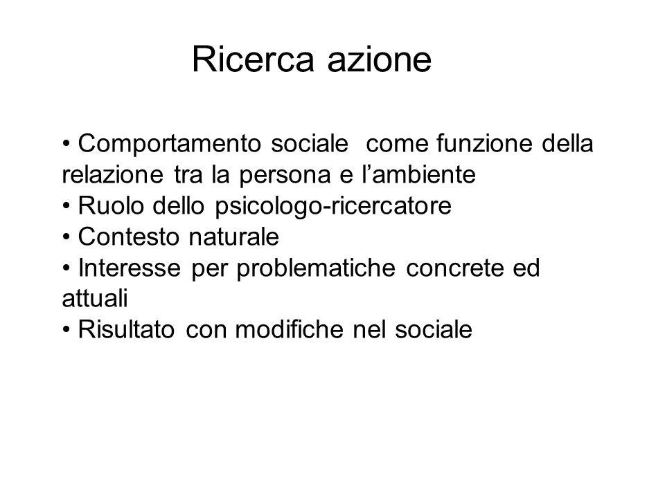 Comportamento sociale come funzione della relazione tra la persona e lambiente Ruolo dello psicologo-ricercatore Contesto naturale Interesse per probl