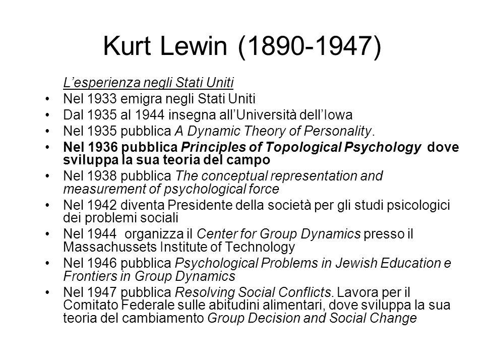 Kurt Lewin (1890-1947) Lesperienza negli Stati Uniti Nel 1933 emigra negli Stati Uniti Dal 1935 al 1944 insegna allUniversità dellIowa Nel 1935 pubbli