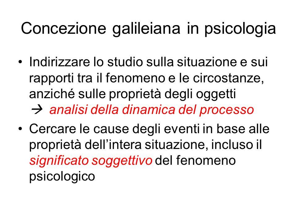 Concezione galileiana in psicologia Indirizzare lo studio sulla situazione e sui rapporti tra il fenomeno e le circostanze, anziché sulle proprietà de
