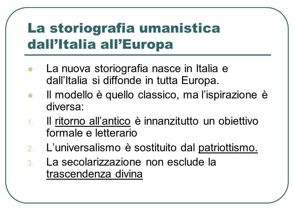 La storiografia umanistica dallItalia allEuropa La nuova storiografia nasce in Italia e dallItalia si diffonde in tutta Europa. Il modello è quello cl