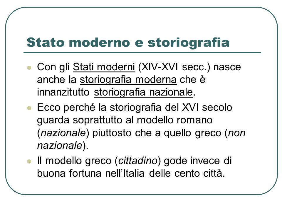Stato moderno e storiografia Con gli Stati moderni (XIV-XVI secc.) nasce anche la storiografia moderna che è innanzitutto storiografia nazionale. Ecco