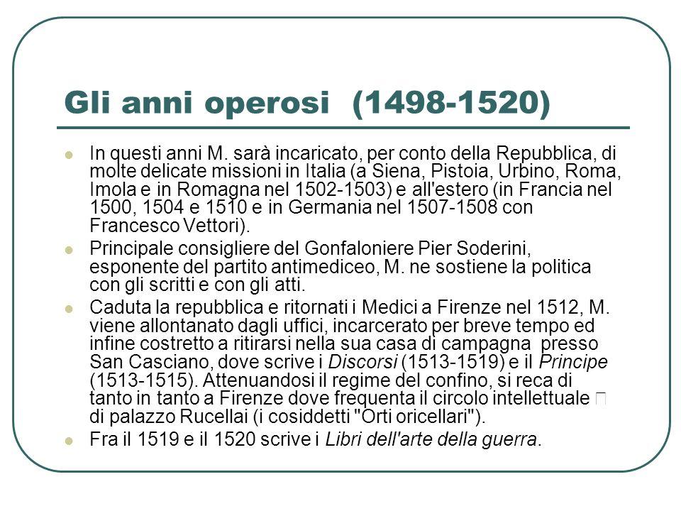 Gli anni operosi (1498-1520) In questi anni M. sarà incaricato, per conto della Repubblica, di molte delicate missioni in Italia (a Siena, Pistoia, Ur