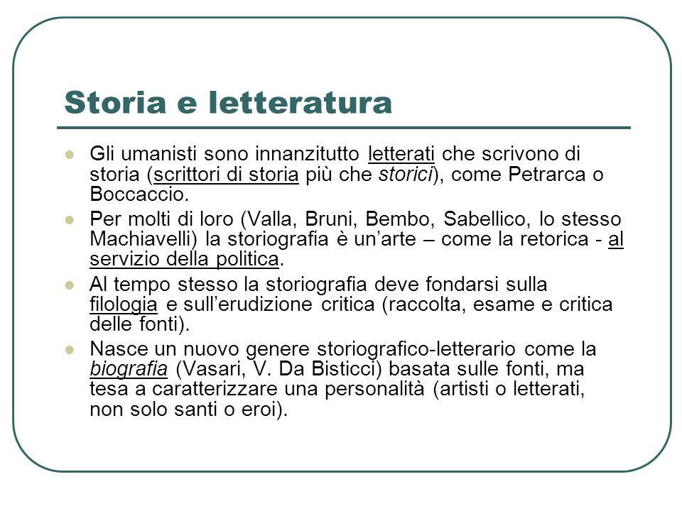 Storia e letteratura Gli umanisti sono innanzitutto letterati che scrivono di storia (scrittori di storia più che storici), come Petrarca o Boccaccio.