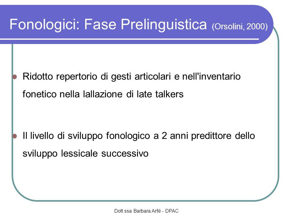 Fonologici: Fase Prelinguistica (Orsolini, 2000) Ridotto repertorio di gesti articolari e nell'inventario fonetico nella lallazione di late talkers Il