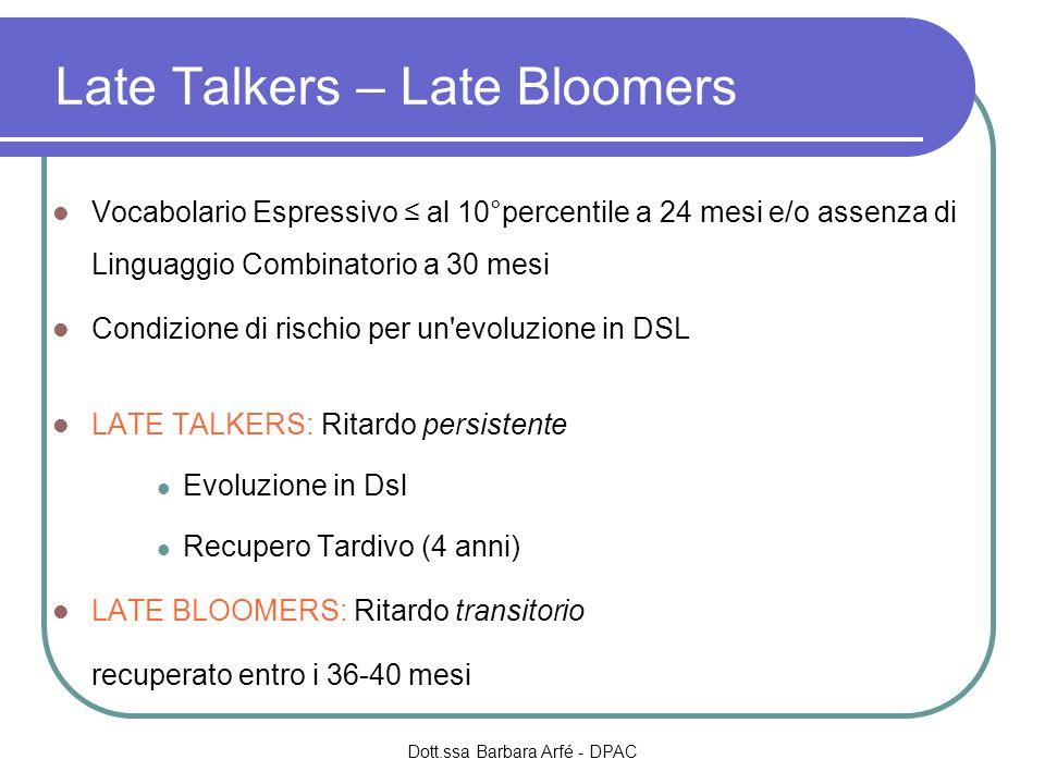 Late Talkers – Late Bloomers Vocabolario Espressivo al 10°percentile a 24 mesi e/o assenza di Linguaggio Combinatorio a 30 mesi Condizione di rischio