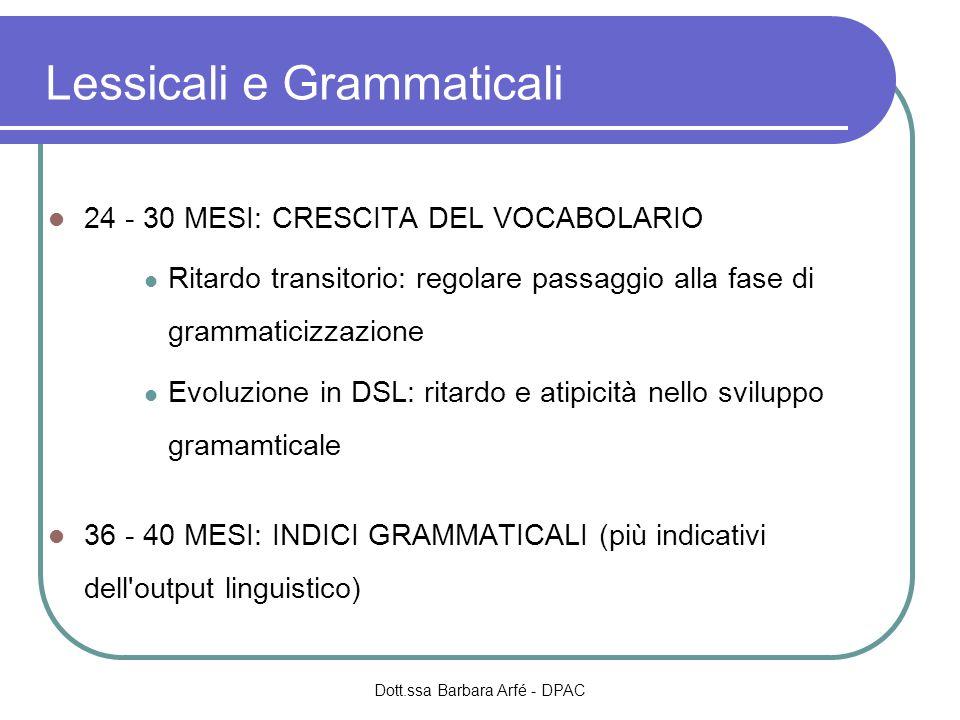 Lessicali e Grammaticali 24 - 30 MESI: CRESCITA DEL VOCABOLARIO Ritardo transitorio: regolare passaggio alla fase di grammaticizzazione Evoluzione in