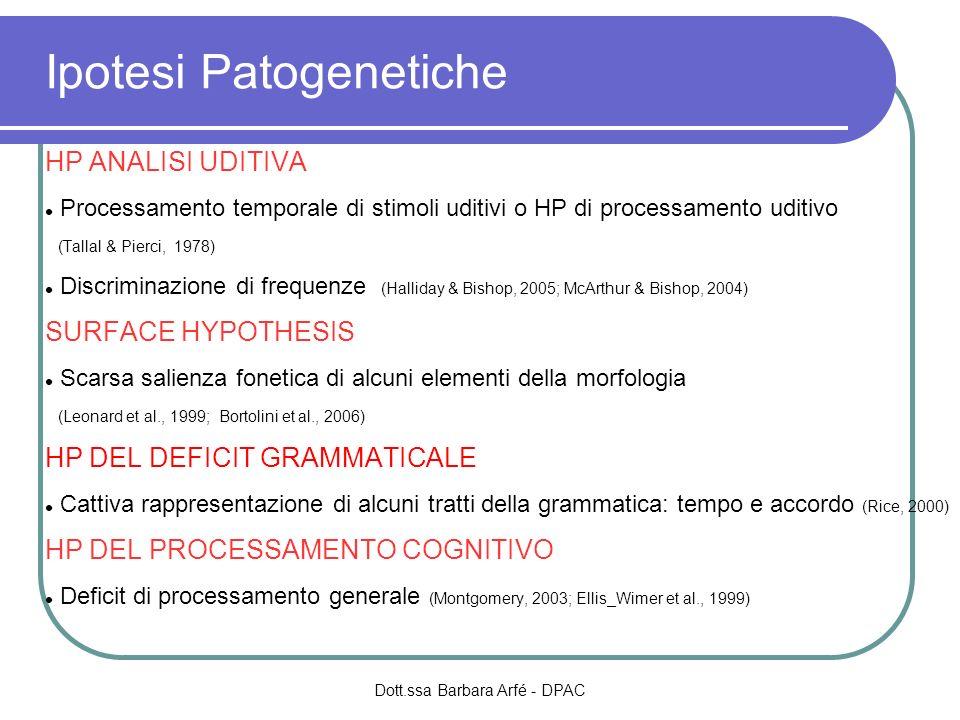 Ipotesi Patogenetiche HP ANALISI UDITIVA Processamento temporale di stimoli uditivi o HP di processamento uditivo (Tallal & Pierci, 1978) Discriminazi