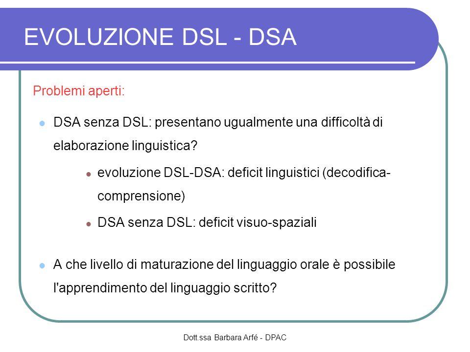 EVOLUZIONE DSL - DSA Problemi aperti: DSA senza DSL: presentano ugualmente una difficoltà di elaborazione linguistica? evoluzione DSL-DSA: deficit lin