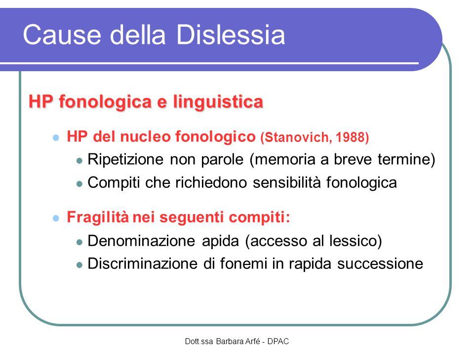 Cause della Dislessia HP fonologica e linguistica HP del nucleo fonologico (Stanovich, 1988) Ripetizione non parole (memoria a breve termine) Compiti