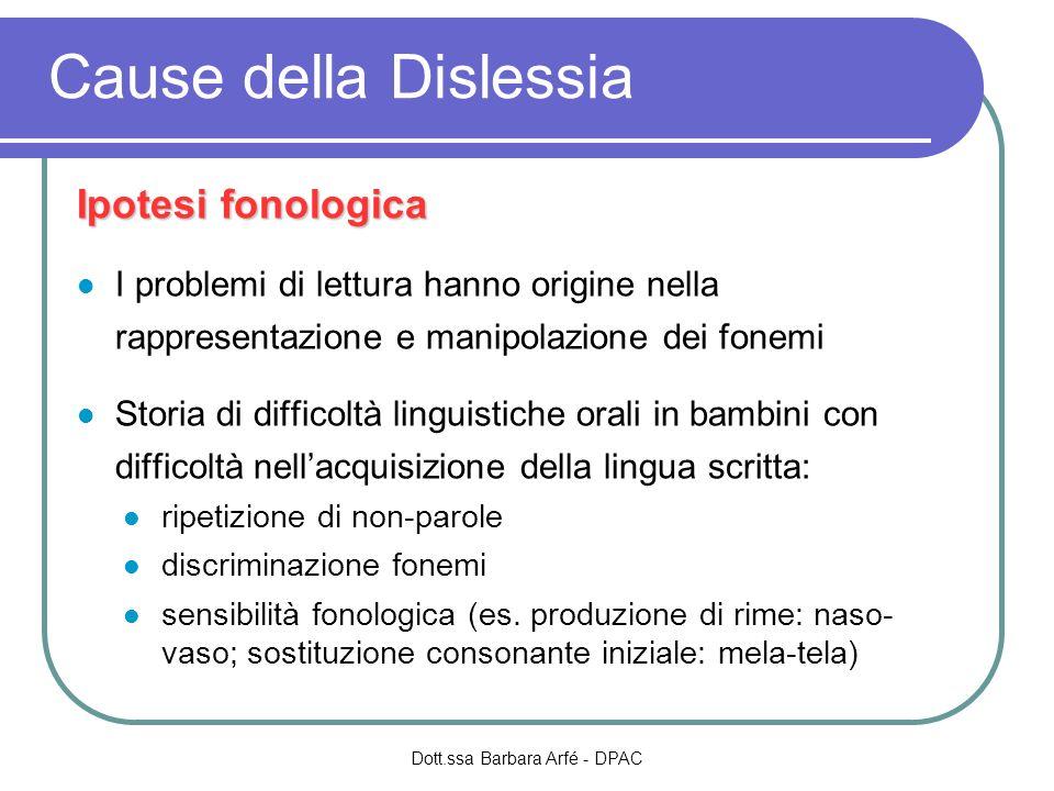 Ipotesi fonologica I problemi di lettura hanno origine nella rappresentazione e manipolazione dei fonemi Storia di difficoltà linguistiche orali in ba