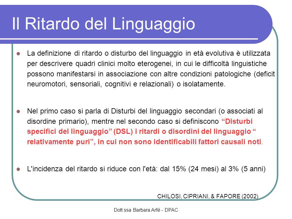 Disturbi Specifici del Linguaggio Problemi di definizione Fisionomia Indici prelinguistici e linguistici Evoluzione Dott.ssa Barbara Arfé - DPAC