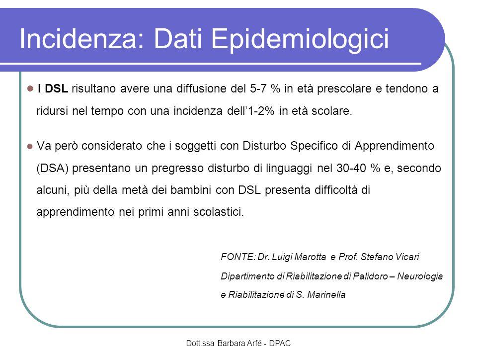 Incidenza: Dati Epidemiologici I DSL risultano avere una diffusione del 5-7 % in età prescolare e tendono a ridursi nel tempo con una incidenza dell1-