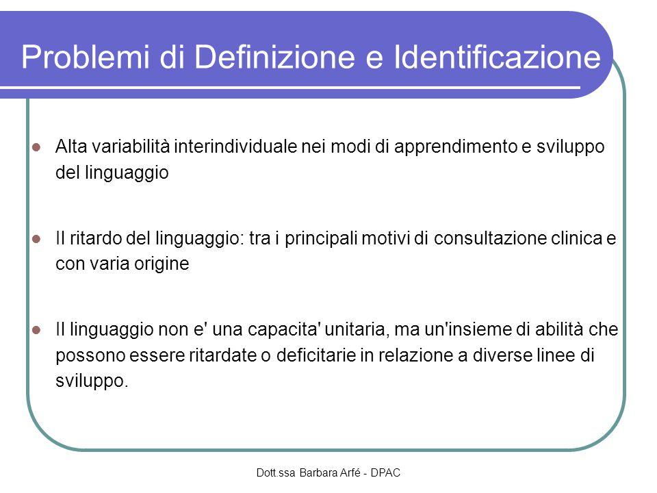 Problemi di Definizione e Identificazione Alta variabilità interindividuale nei modi di apprendimento e sviluppo del linguaggio Il ritardo del linguag