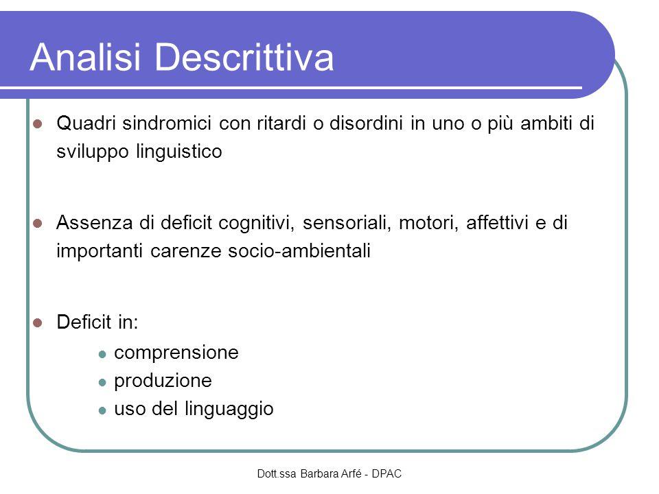 Analisi Descrittiva Quadri sindromici con ritardi o disordini in uno o più ambiti di sviluppo linguistico Assenza di deficit cognitivi, sensoriali, mo
