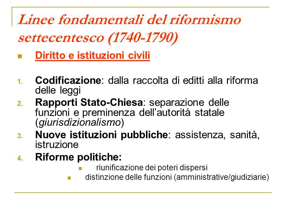 Linee fondamentali del riformismo settecentesco (1740-1790) Diritto e istituzioni civili 1. Codificazione: dalla raccolta di editti alla riforma delle