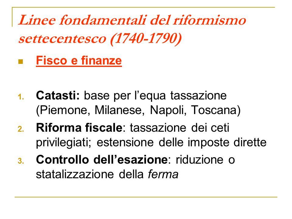 Linee fondamentali del riformismo settecentesco (1740-1790) Fisco e finanze 1. Catasti: base per lequa tassazione (Piemone, Milanese, Napoli, Toscana)