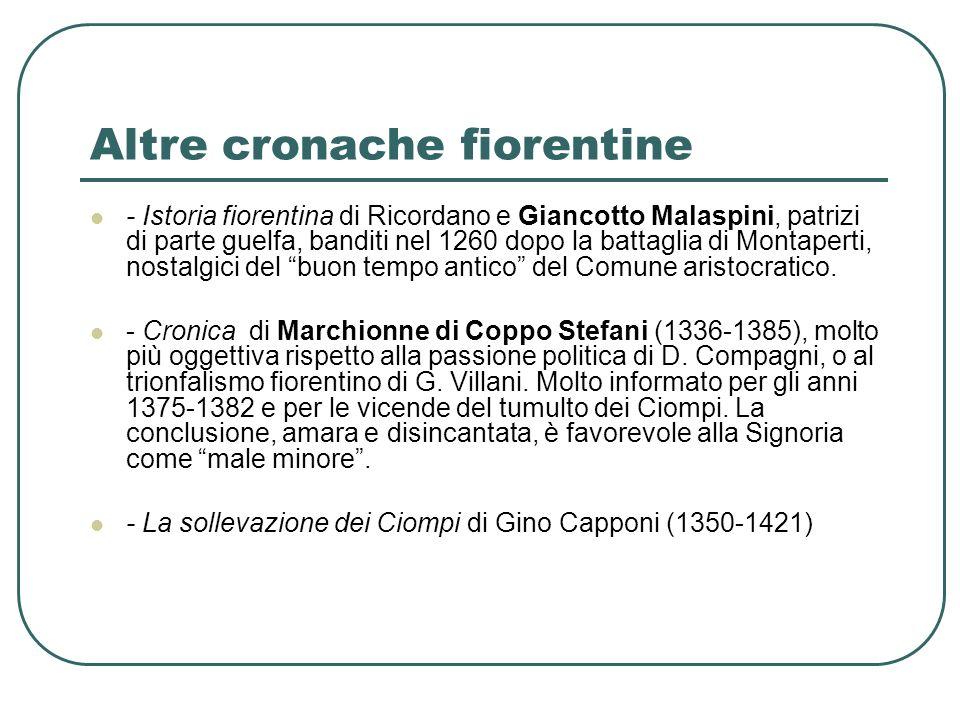 Altre cronache fiorentine - Istoria fiorentina di Ricordano e Giancotto Malaspini, patrizi di parte guelfa, banditi nel 1260 dopo la battaglia di Mont