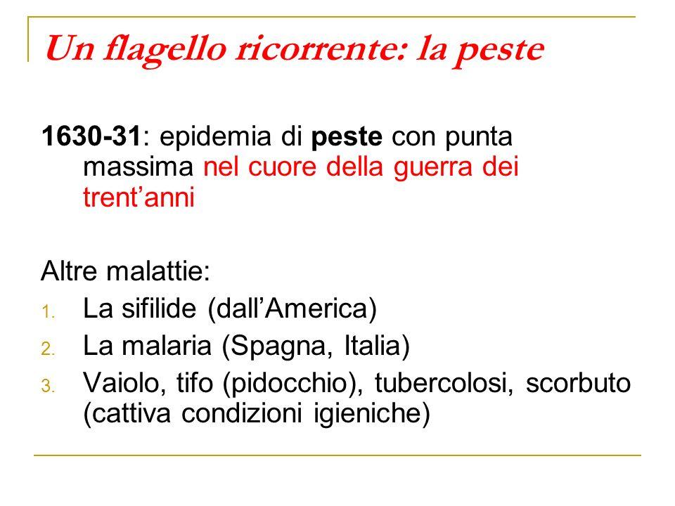 Un flagello ricorrente: la peste 1630-31: epidemia di peste con punta massima nel cuore della guerra dei trentanni Altre malattie: 1. La sifilide (dal