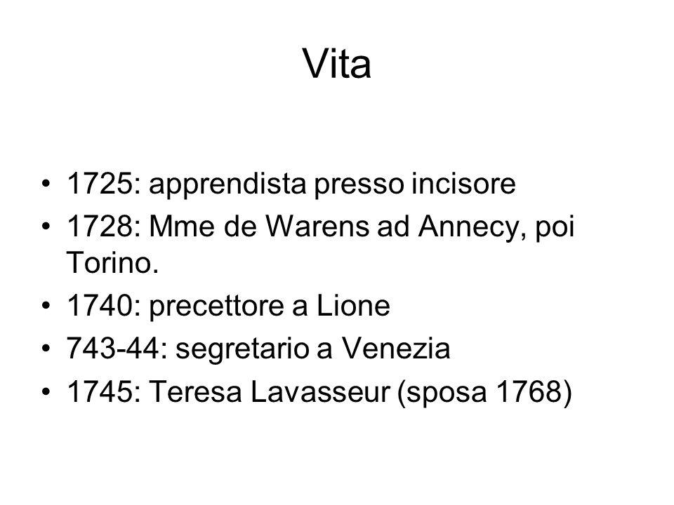 1750: premio a Digione: Sul rinascimento 1754: Sullorigine della disuguaglianza 1762: Grandi opere: Emilio; Il contratto sociale 2 giugno 1778: muore.
