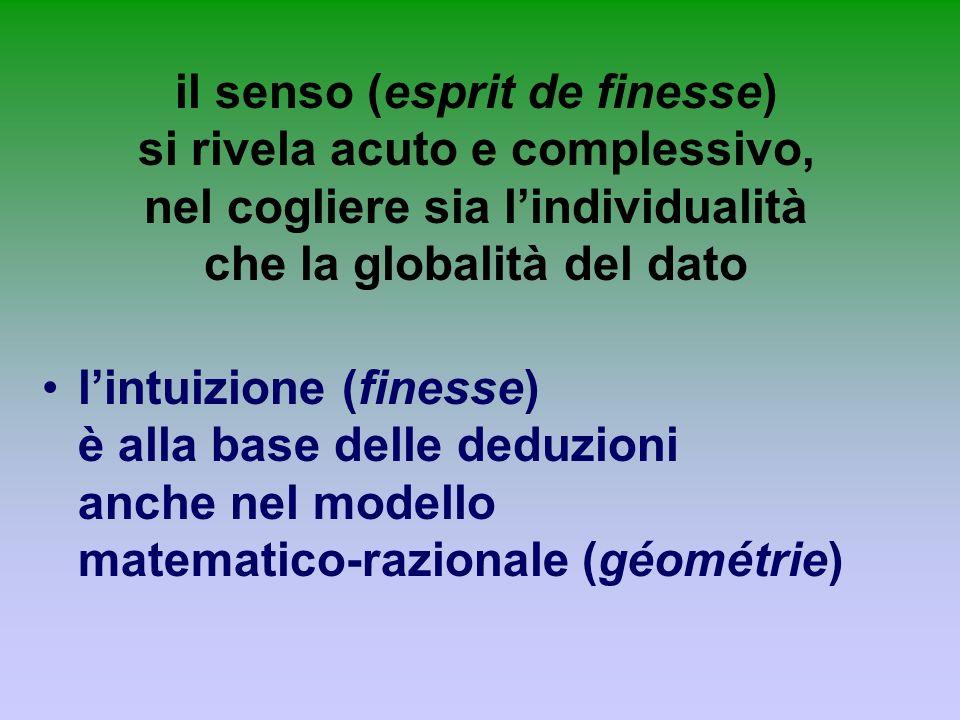 il senso (esprit de finesse) si rivela acuto e complessivo, nel cogliere sia lindividualità che la globalità del dato lintuizione (finesse) è alla bas