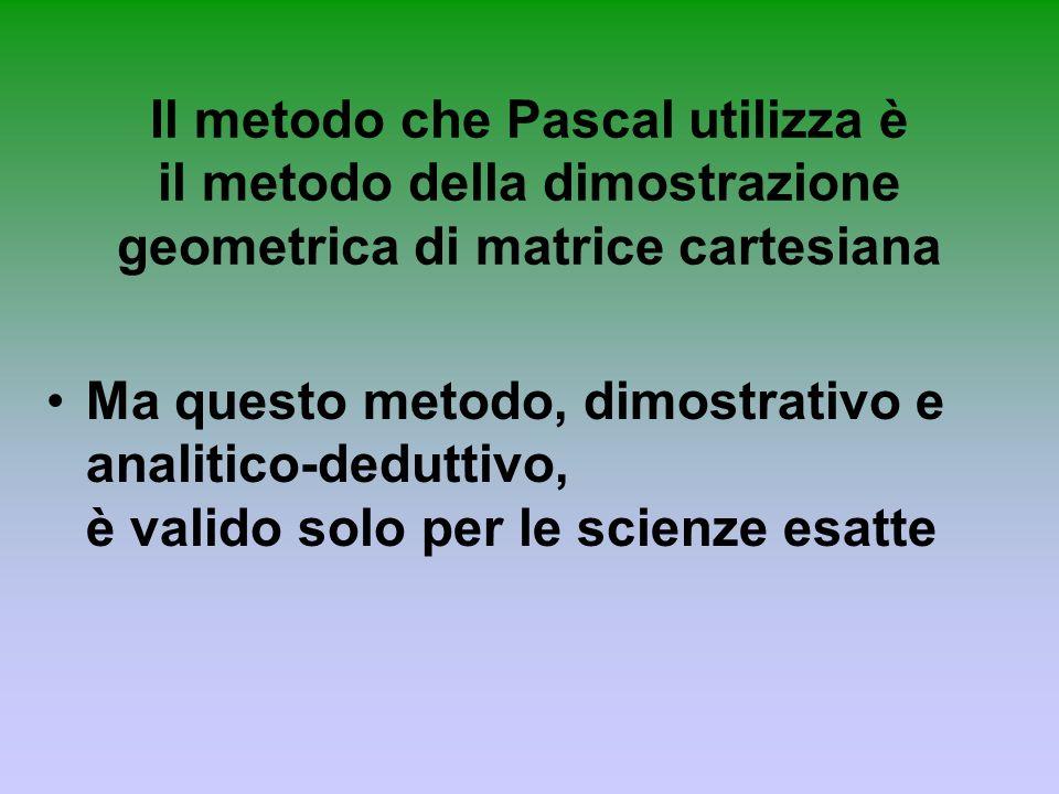 Il metodo che Pascal utilizza è il metodo della dimostrazione geometrica di matrice cartesiana Ma questo metodo, dimostrativo e analitico-deduttivo, è
