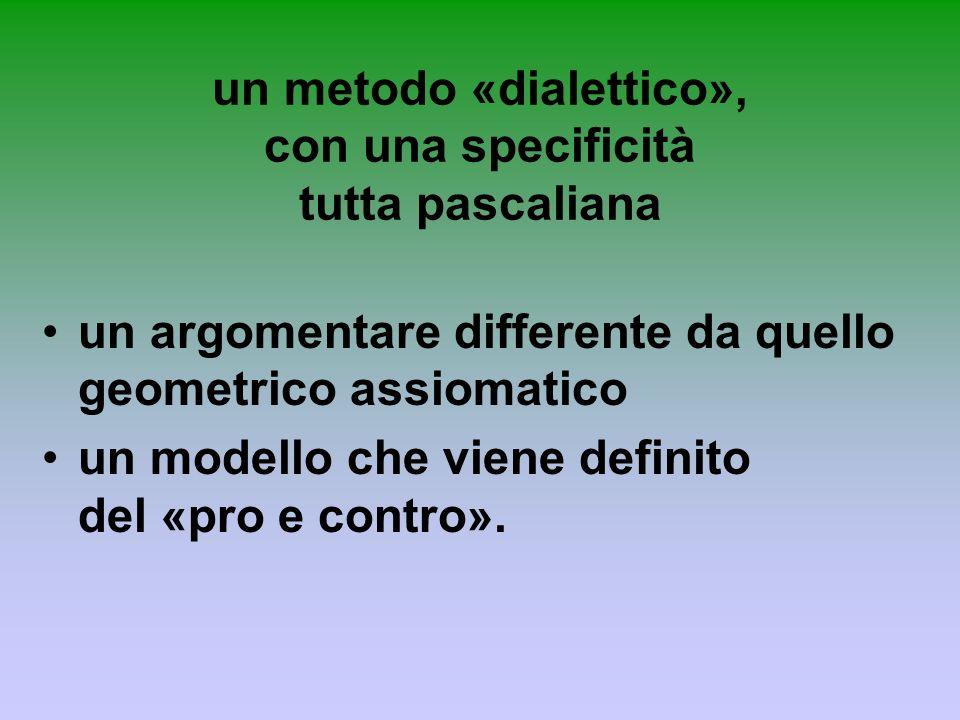 un metodo «dialettico», con una specificità tutta pascaliana un argomentare differente da quello geometrico assiomatico un modello che viene definito