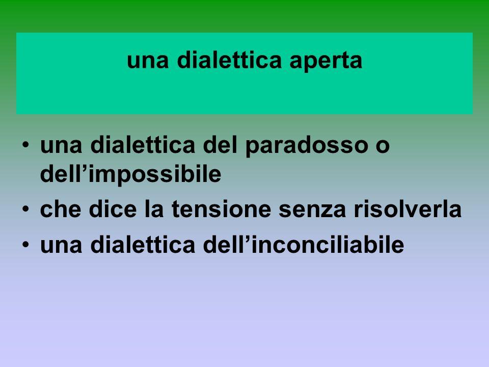 una dialettica aperta una dialettica del paradosso o dellimpossibile che dice la tensione senza risolverla una dialettica dellinconciliabile