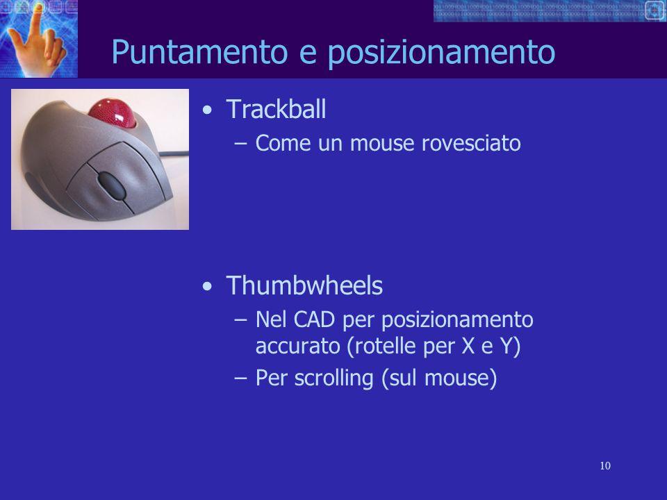 10 Trackball –Come un mouse rovesciato Thumbwheels –Nel CAD per posizionamento accurato (rotelle per X e Y) –Per scrolling (sul mouse) Puntamento e po