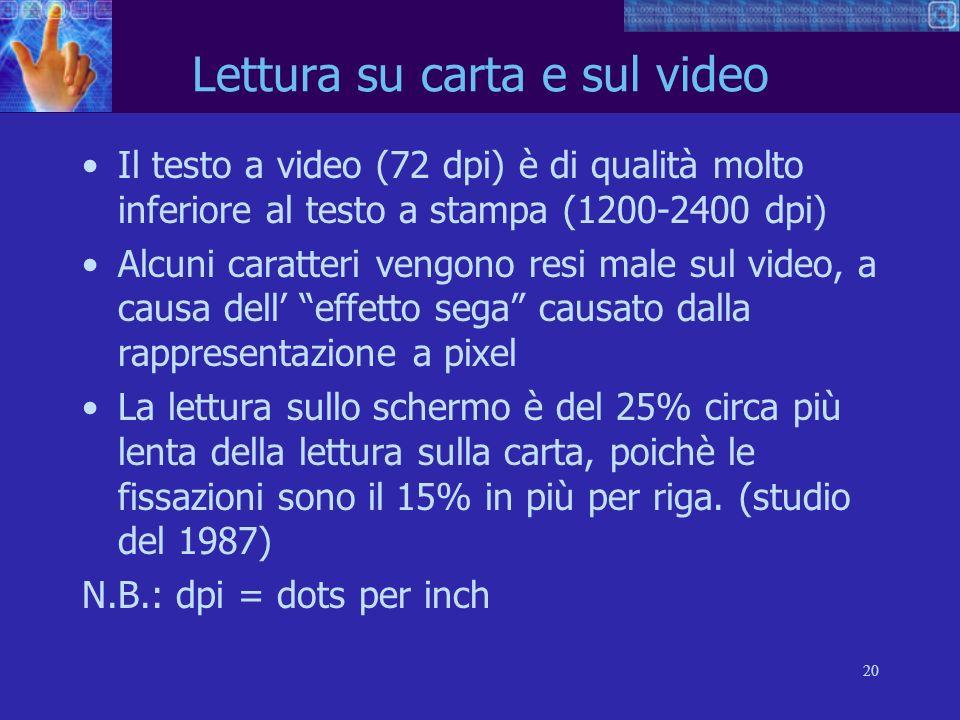 20 Lettura su carta e sul video Il testo a video (72 dpi) è di qualità molto inferiore al testo a stampa (1200-2400 dpi) Alcuni caratteri vengono resi