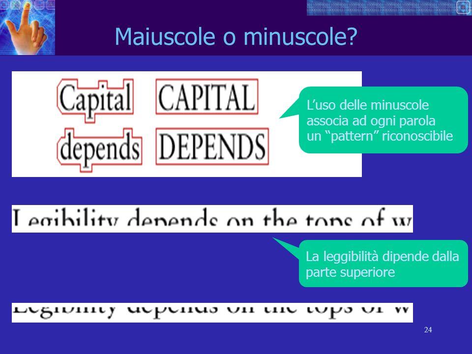 24 Maiuscole o minuscole? Luso delle minuscole associa ad ogni parola un pattern riconoscibile La leggibilità dipende dalla parte superiore