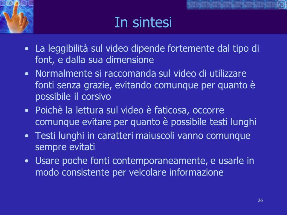 26 In sintesi La leggibilità sul video dipende fortemente dal tipo di font, e dalla sua dimensione Normalmente si raccomanda sul video di utilizzare f
