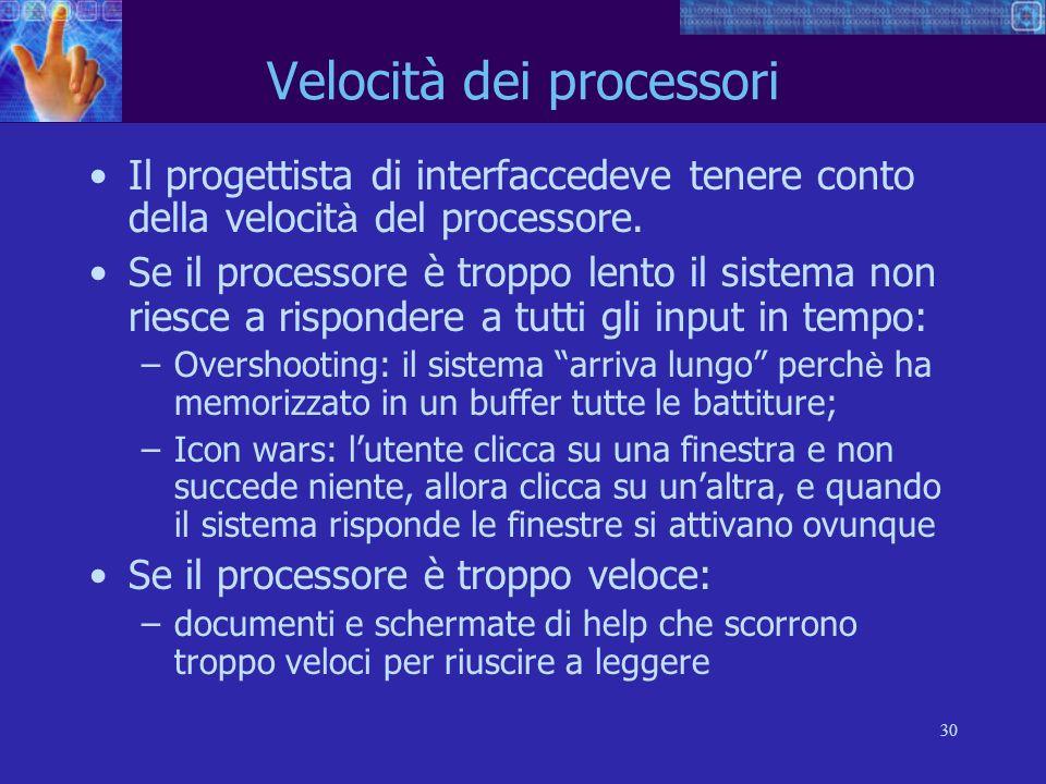 30 Velocità dei processori Il progettista di interfaccedeve tenere conto della velocit à del processore. Se il processore è troppo lento il sistema no