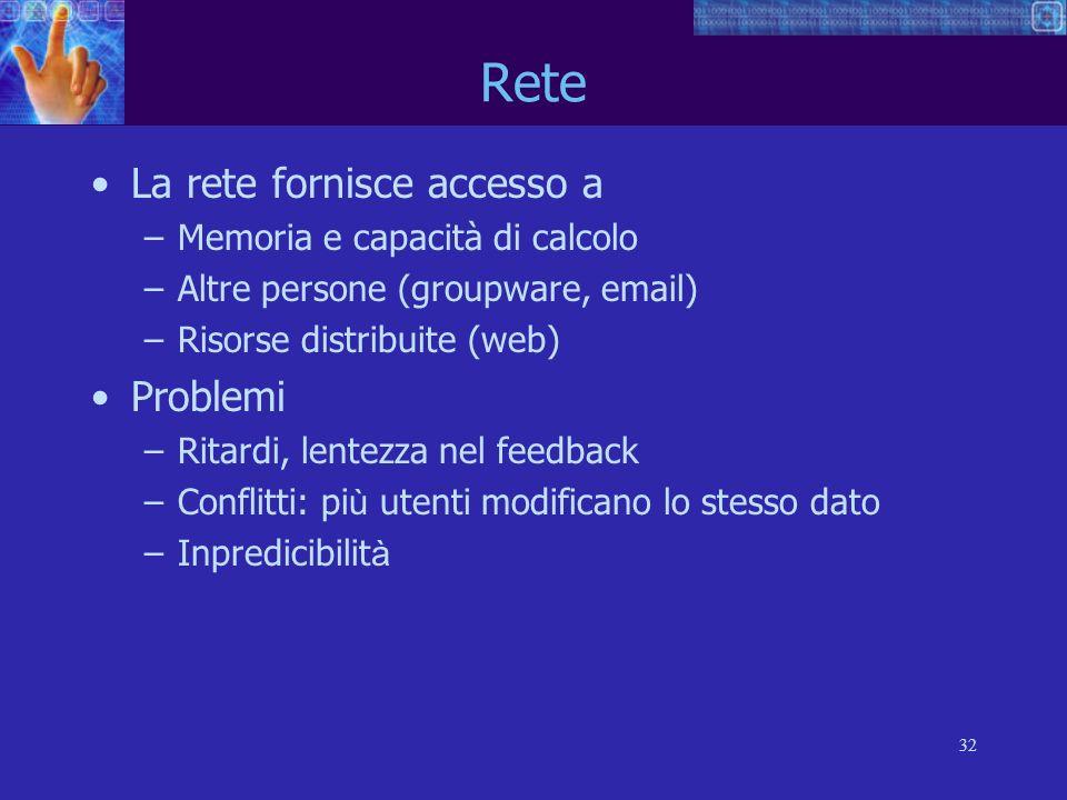 32 Rete La rete fornisce accesso a –Memoria e capacità di calcolo –Altre persone (groupware, email) –Risorse distribuite (web) Problemi –Ritardi, lent