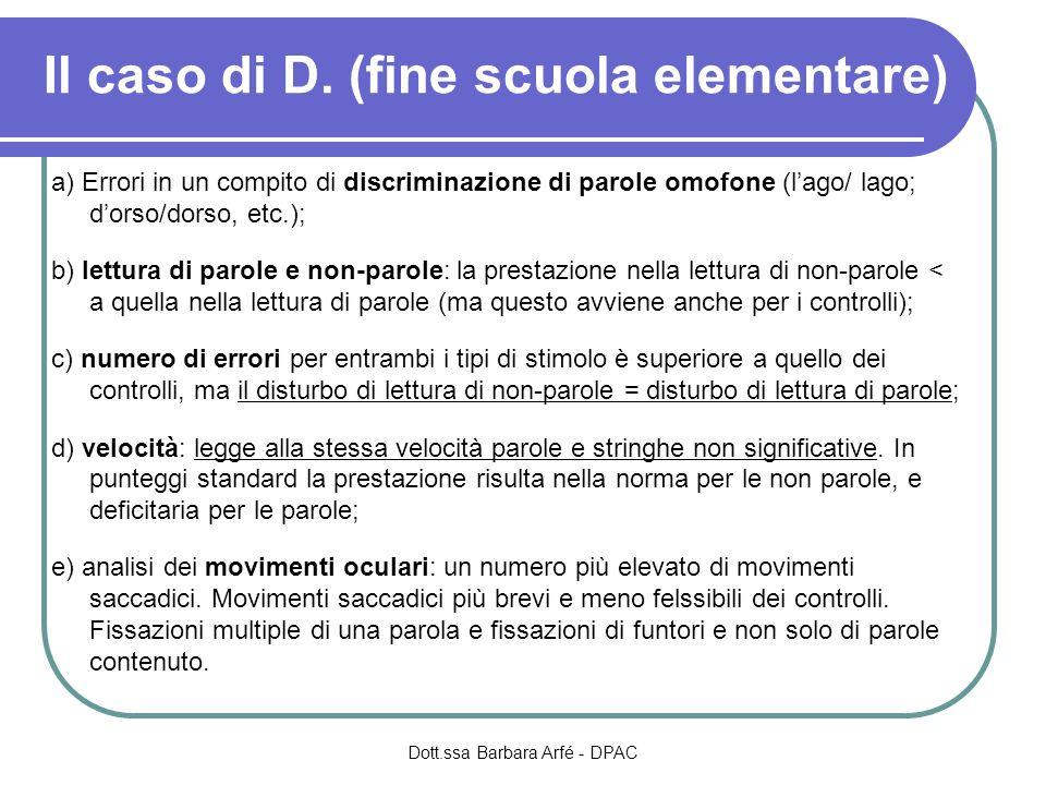 Il caso di D. (fine scuola elementare) a) Errori in un compito di discriminazione di parole omofone (lago/ lago; dorso/dorso, etc.); b) lettura di par