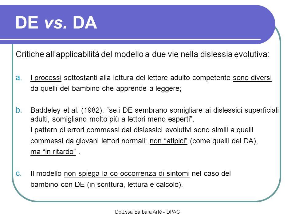 DE vs. DA Critiche allapplicabilità del modello a due vie nella dislessia evolutiva: a. I processi sottostanti alla lettura del lettore adulto compete