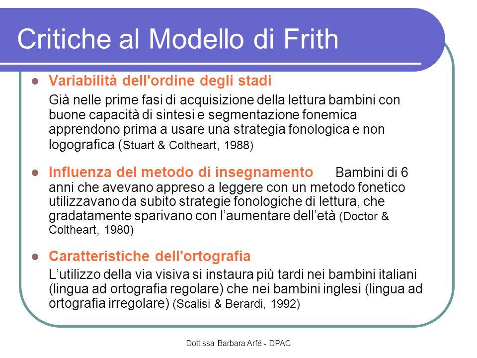 Critiche al Modello di Frith Variabilità dell'ordine degli stadi Già nelle prime fasi di acquisizione della lettura bambini con buone capacità di sint