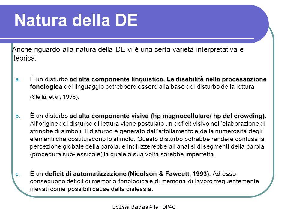 Natura della DE Anche riguardo alla natura della DE vi è una certa varietà interpretativa e teorica: ad alta componente linguistica. Le disabilità nel