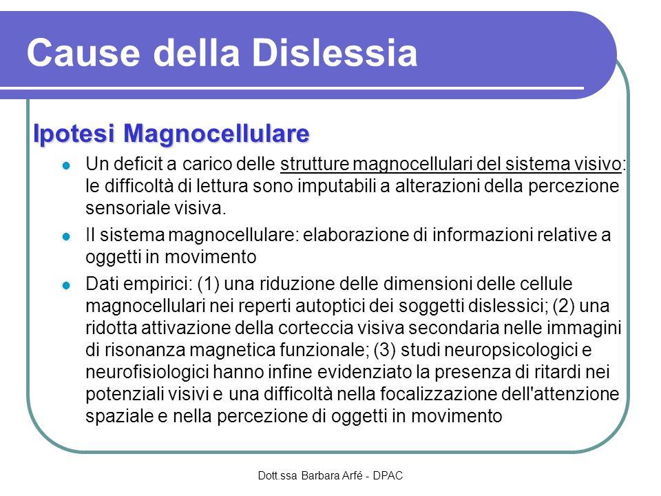 Ipotesi Magnocellulare Un deficit a carico delle strutture magnocellulari del sistema visivo: le difficoltà di lettura sono imputabili a alterazioni d
