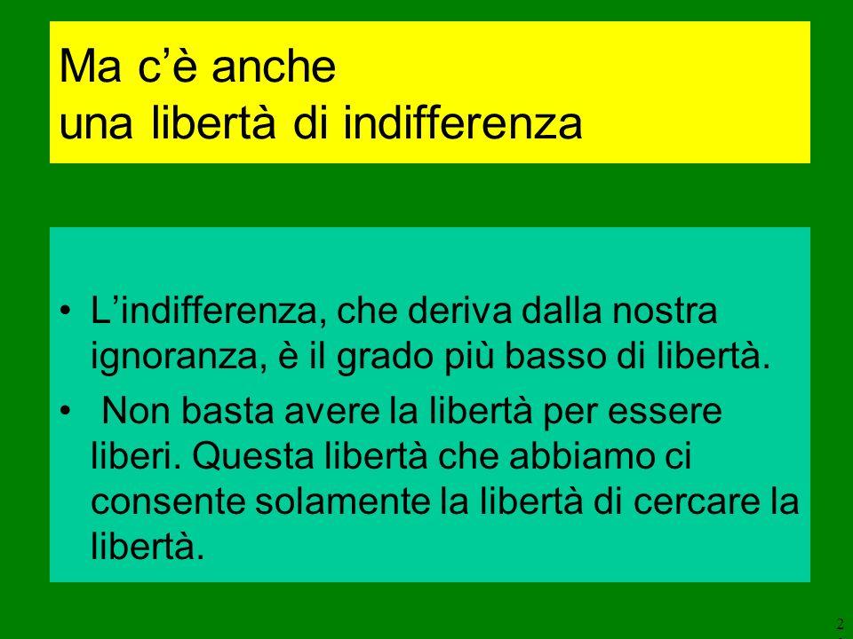 20 Ma cè anche una libertà di indifferenza Lindifferenza, che deriva dalla nostra ignoranza, è il grado più basso di libertà. Non basta avere la liber