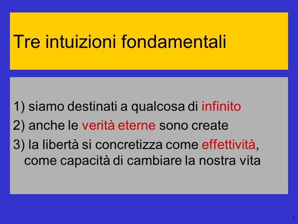 7 Tre intuizioni fondamentali 1) siamo destinati a qualcosa di infinito 2) anche le verità eterne sono create 3) la libertà si concretizza come effett